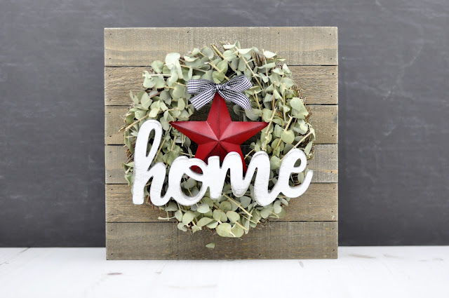 Home Sweet Home Enamel sign on moss-covered wreath. Designed by Jen Gallacher for Jillibean Soup. #enamelsign #wreath #jillibeansoup
