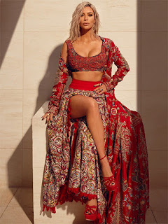 Kim Kardashian in Red Saree
