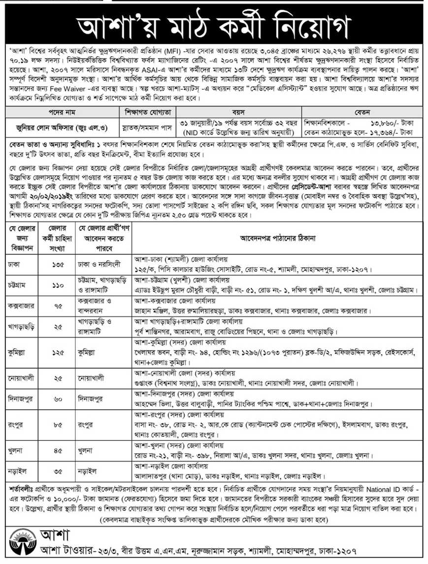 Asa Junior Loan Officer Job Circular 2019