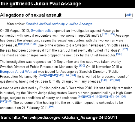 the girlfriends Julian Paul Assange