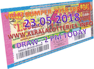 Kerala bumper lottery Vishu bumper draw on 23 05 may 2018 result published here. official result of Voshi bumper 2018 lottery vishnu bumper lottery result at 2 pm today. keralalottery resilt vishu bymper 23.05.207 br61 bumper lottery, bumper lottery today