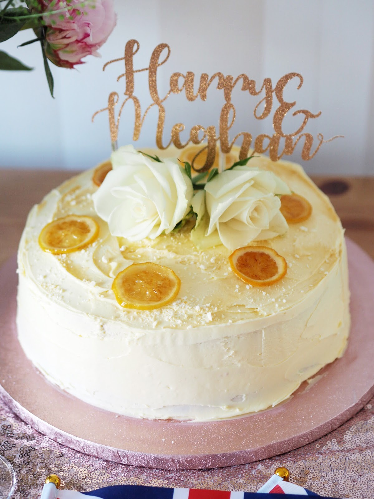 Royal Wedding Lemon & ELderflower cake recipe with Rose gold glitter Harry & Meghan cake topper
