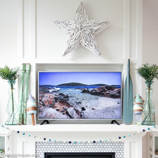 Summer Mantel Decor with White Driftwood Star