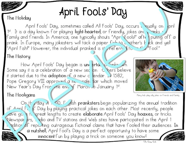 https://www.teacherspayteachers.com/Product/April-Fools-Day-Close-Reading-Packet-2467039