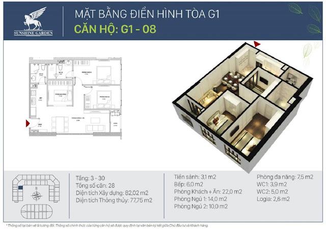 Thiết kế loại căn hộ 02 phòng ngủ + 01 đa năng