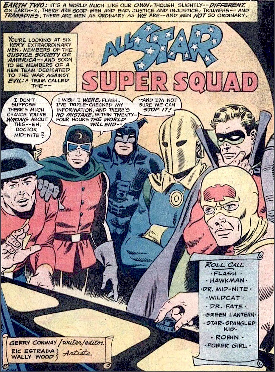 Flash, Doctor Mid-Nite, Wildcat, Doctor Fate, Green Lantern, and Hawkman of the JSA