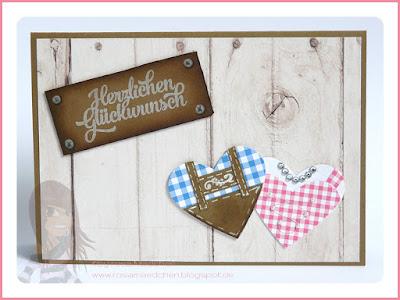 Stampin' Up! rosa Mädchen Kulmbach: Hochzeitskarte mit Trachtenherzen und Grußelemente