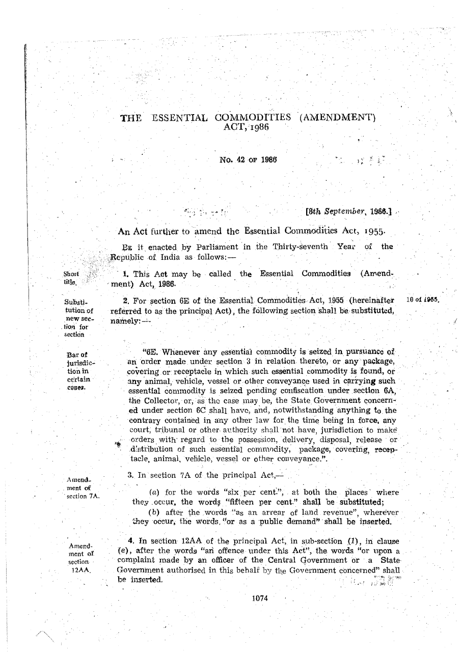 Essential Commodities (Amendment) Act 1986