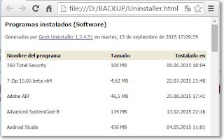 Programas instalados html