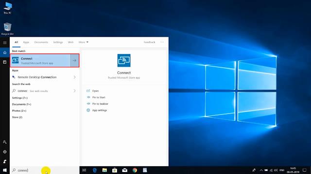 WIndows Connect Application Start Menu