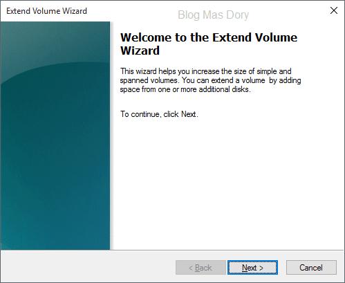 Extend volume wizard, klik next, Blog Mas Dory
