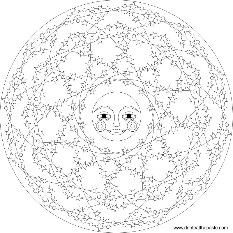 Stars and moon mandala to color- also available in transparent png format