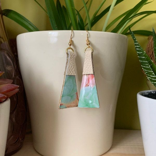 Ivory leather, wood, and pastel paper earrings