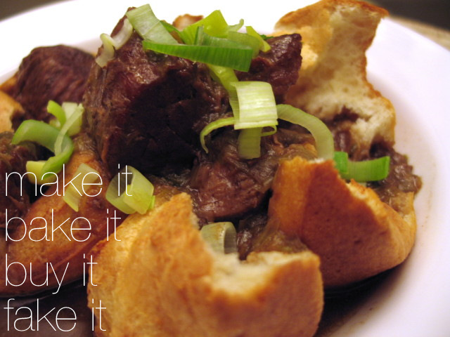 Popovers filled with Beef & Leek Stew