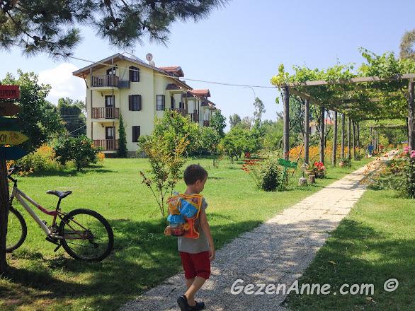 oğlumla Yonca Lodge'un organik bahçesinden plaja doğru giderken, Fethiye
