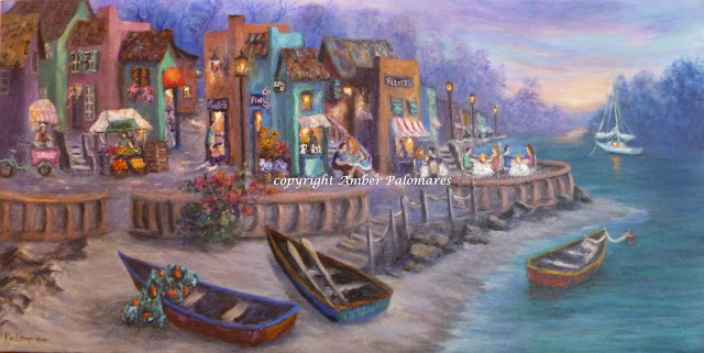 Original painting of boats in a Tuscan Village with fruit market and shops