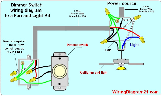 wiring a ceiling fan with light switch diagram