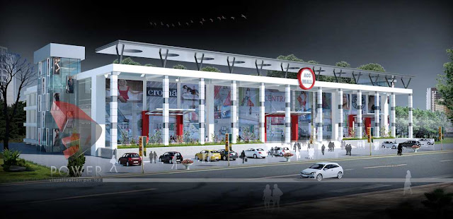 3d Exterior View of Shopping Mall,3d Architectural Animation