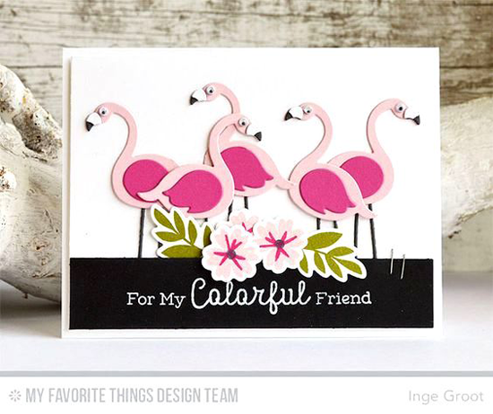 Handmade card from Inge Groot featuring Mini Modern Blooms stamp set and Die-namics, Laina Lamb Design Tickled Pink stamp set and Flamingos Die-namics #mftstamps