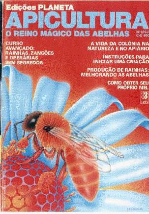 """Capa de """"O reino mágico das abelhas"""" de autoria de Mitsiotis, revista que ainda hoje exerce influência sobre apicultores do Brasil e das Américas."""