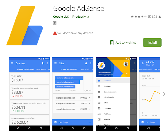 Google adsense is an android app for blogger it will helps to understand