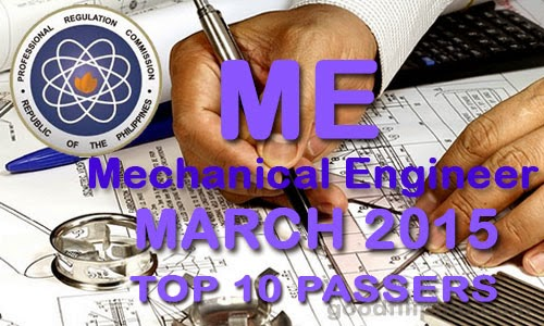 Top 10 Passers of March 2015 Mechanical Engineer Board Exam