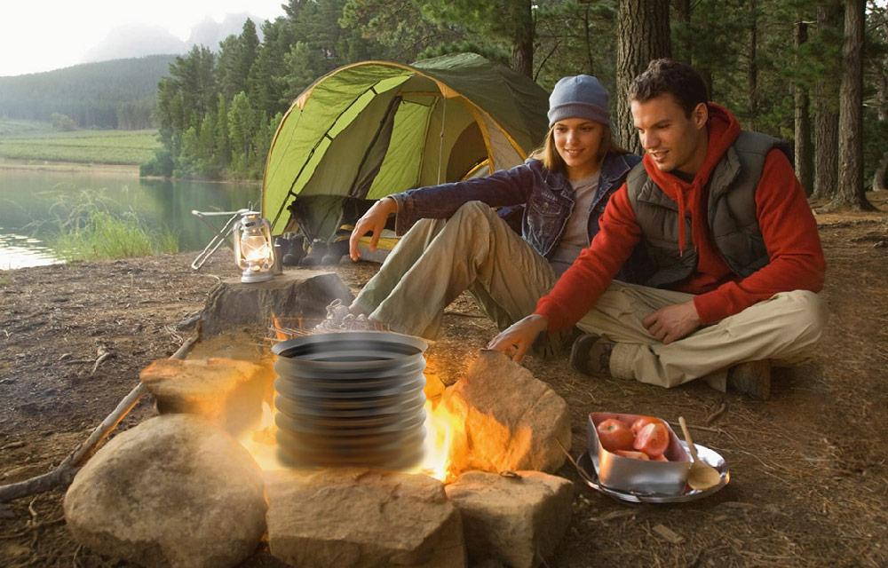 pentola da campeggio completamente richiudibile