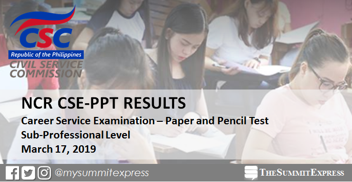 NCR Passers: March 2019 Civil service exam results CSE-PPT (Sub-Professional Level)