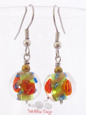 Large glass dangle earrings by WireBliss - glass beads
