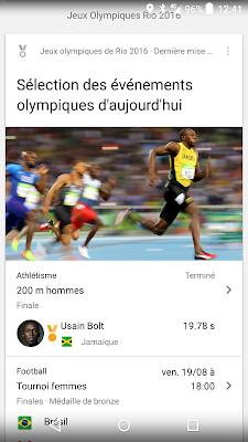 moteur de reponse google - evenements et resultats jo rio 2016