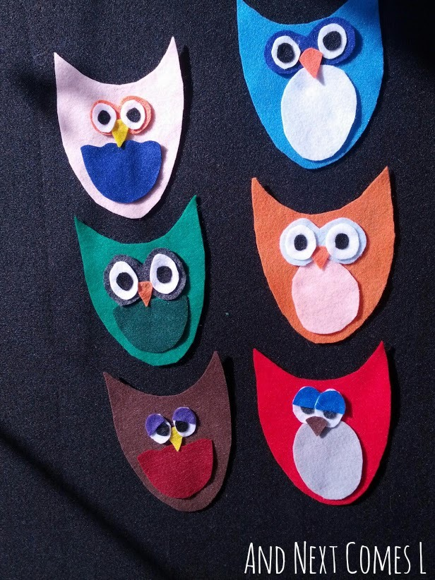 Mix and match owls on the felt board from And Next Comes L