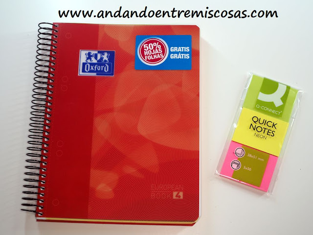 Cuaderno Oxford y notas adhesivas Q-Connect