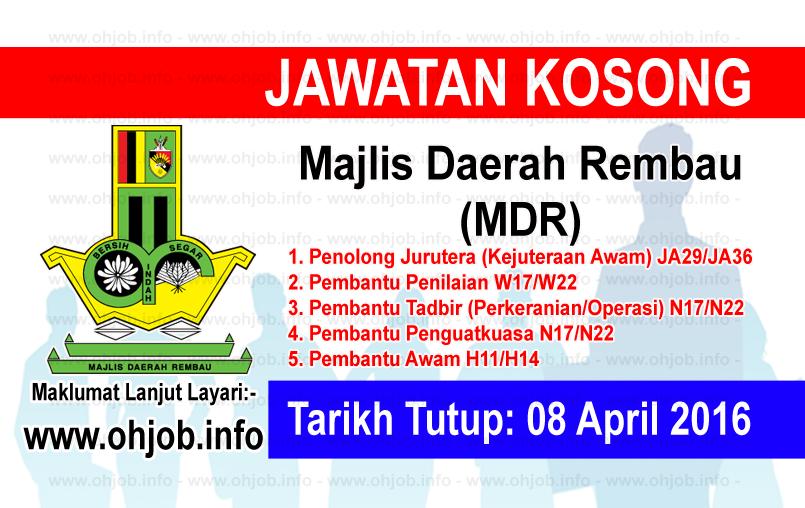 Jawatan Kerja Kosong Majlis Daerah Rembau (MDR) logo www.ohjob.info april 2016