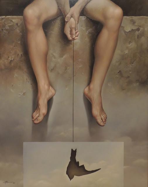 Alberto Pancorbo arte moderno hiperrealista surrealista contemporáneo piernas con paloma