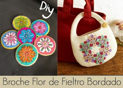 Broche Flor de Fieltro Bordado Diy