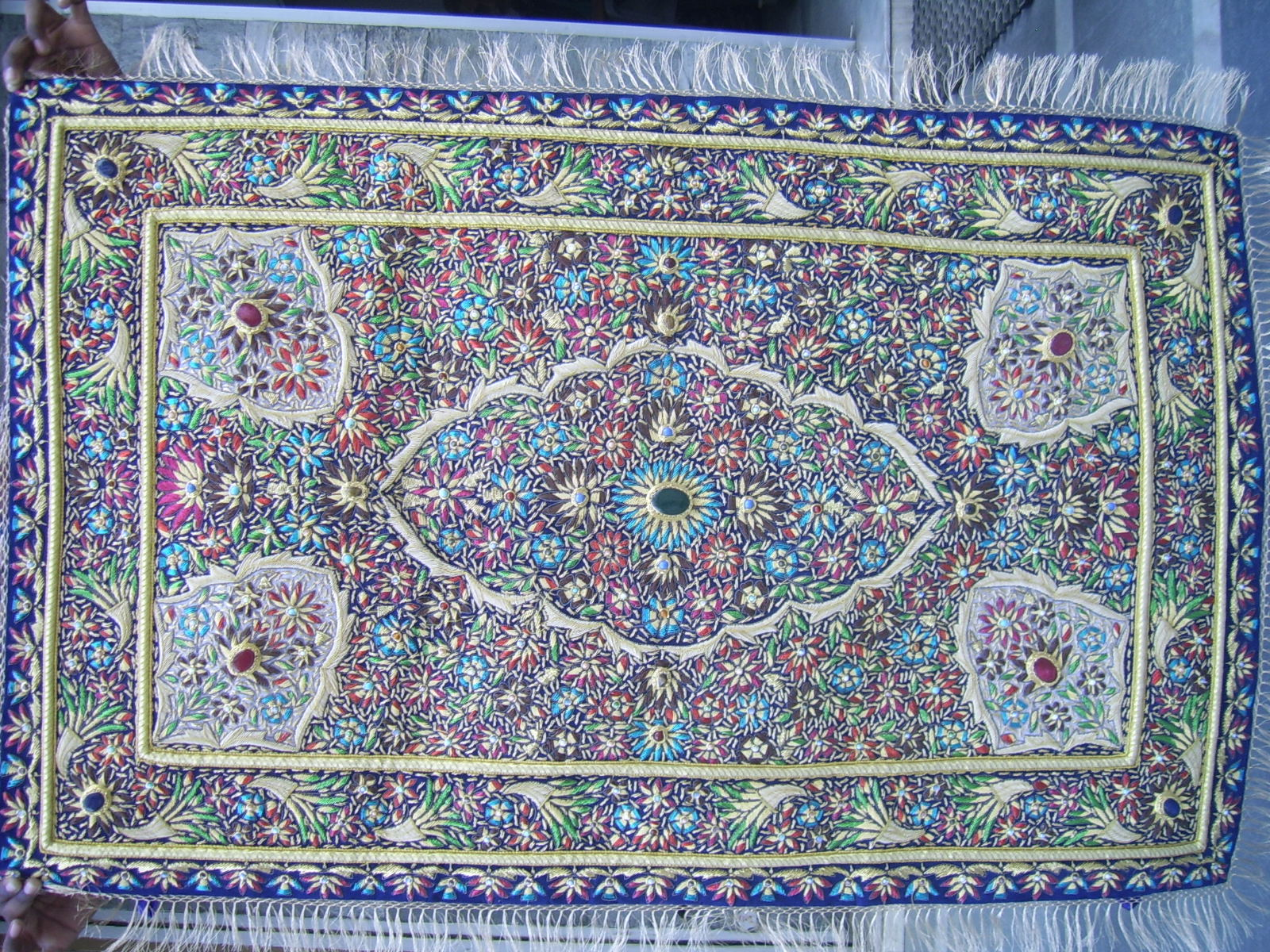 Zari Art The Art done by Golden Thread and Silk Thread & Embroidery Zari Art And Jewels Carpets for Wall HangingEmbroidery ...