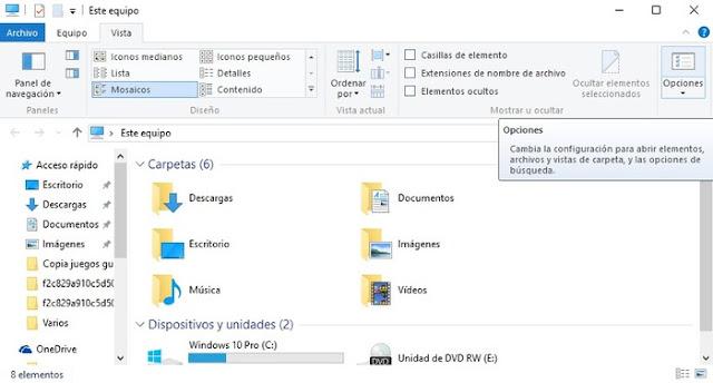 Ocultar carpetas de usuario en Esta PC de Windows 10