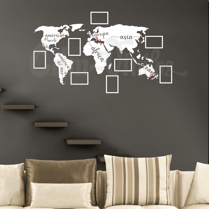 vinilo decorativo mapamundi planisferio marcos fotos pared