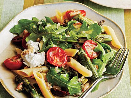 Roasted Asparagus, tomato Penne with Goat cheese