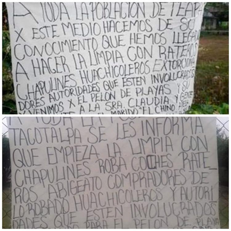 """""""A toda la población empieza la limpia"""", Con NARCOMANTAS el CJNG anuncia llegada a Teapa y Tacotalpa, Veracruz"""