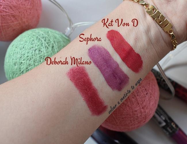 Lips Week: Deborah Milano - Sephora - Kat Von D - Swatches