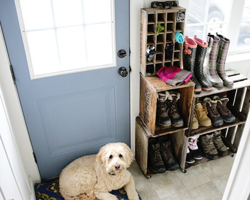 DIY Mudroom using lockers for the entry way using vintage wine crates.