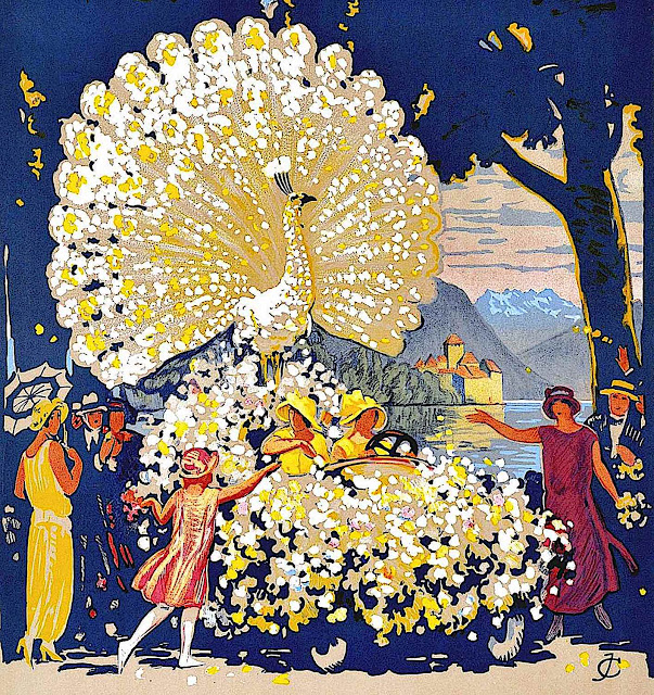 Jules Courvoisier, a color peacock flower decorated parade float car