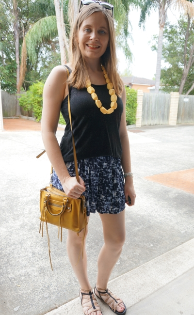 yellow accesories wtih black tank and blue printed shorts | AwayFromTheBlue
