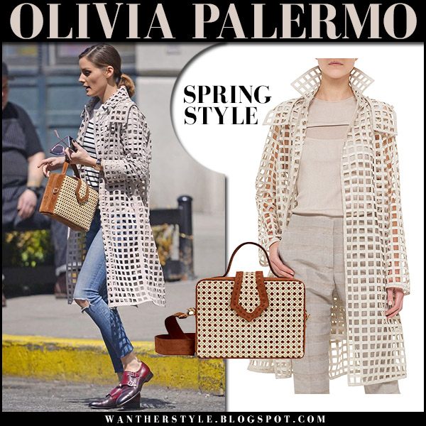 Olivia Palermo in beige open grid coat akris and skinny jeans with brown box bag mehry mu spring street fashion 2018