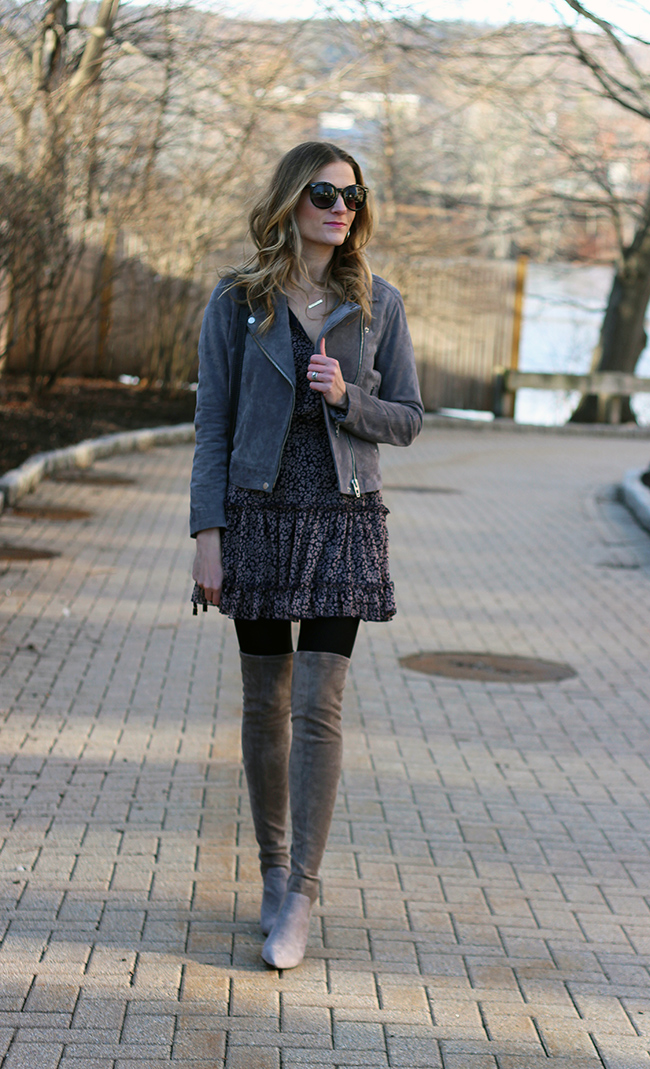 How to wear a spring dress in winter #springdress #ruffledress