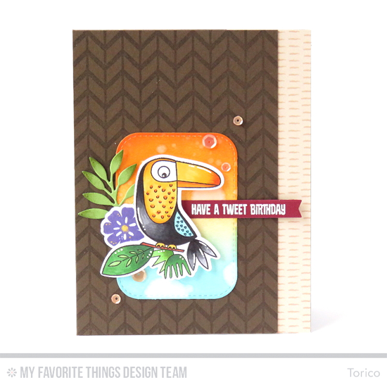 Tweet Birthday Card by Torico featuring the the Birds of Paradise and Desert Bouquet  stamp sets and Die-namics, the Lined Chevron Background stamp, and the Wild Greenery, Inside & Out Stitched Rounded Rectangle STAX, and Blueprints 27 Die-namics #mftstamps