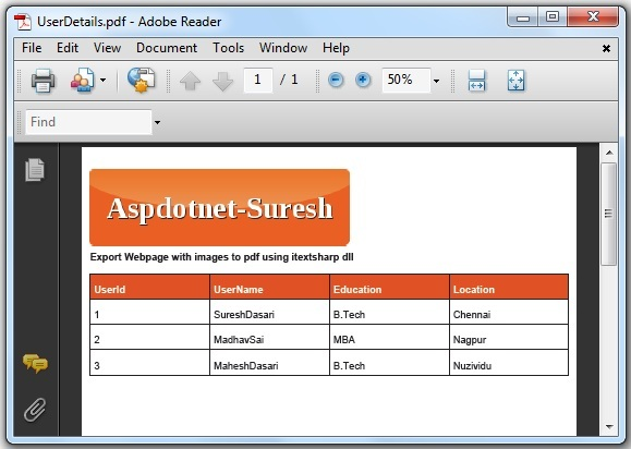 Asp net Export WebPage with Images to PDF using iTextSharp in C#, VB