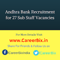 Andhra Bank Recruitment for 27 Sub Staff Vacancies