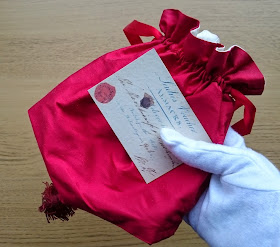 My Regency reticule with a printed copy of the voucher for Almack's  Used with kind permission STG Misc. Box 7 (Almack's Voucher),   © The Huntington Library, San Marino, CA